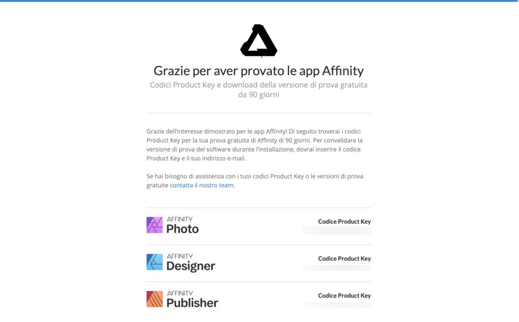 Affinity Serif Designer Photo Publisher prova gratuita 90 giorni