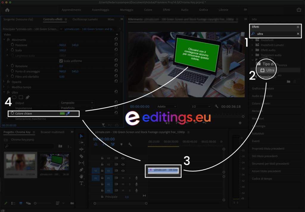 Rimuovere il green screen su Adobe Premiere Pro screen video