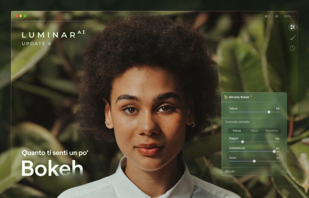 Aggiornamento Luminar AI che introduce Ai-Bokeh che gestisce lo sfoco